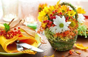 Tischdekoration im Herbst