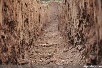 Teichboden Untergrund Lehm