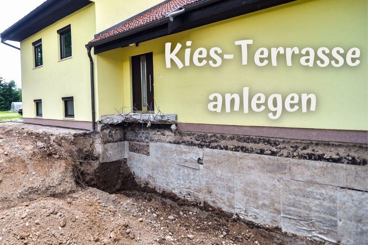 Kies Terrasse anlegen Unterbau + Vor  und Nachteile   Gartendialog.de