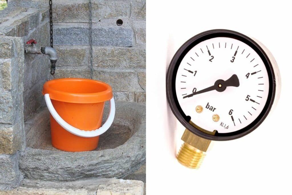Eimer unter Wasserhahn im Garten und Manometer