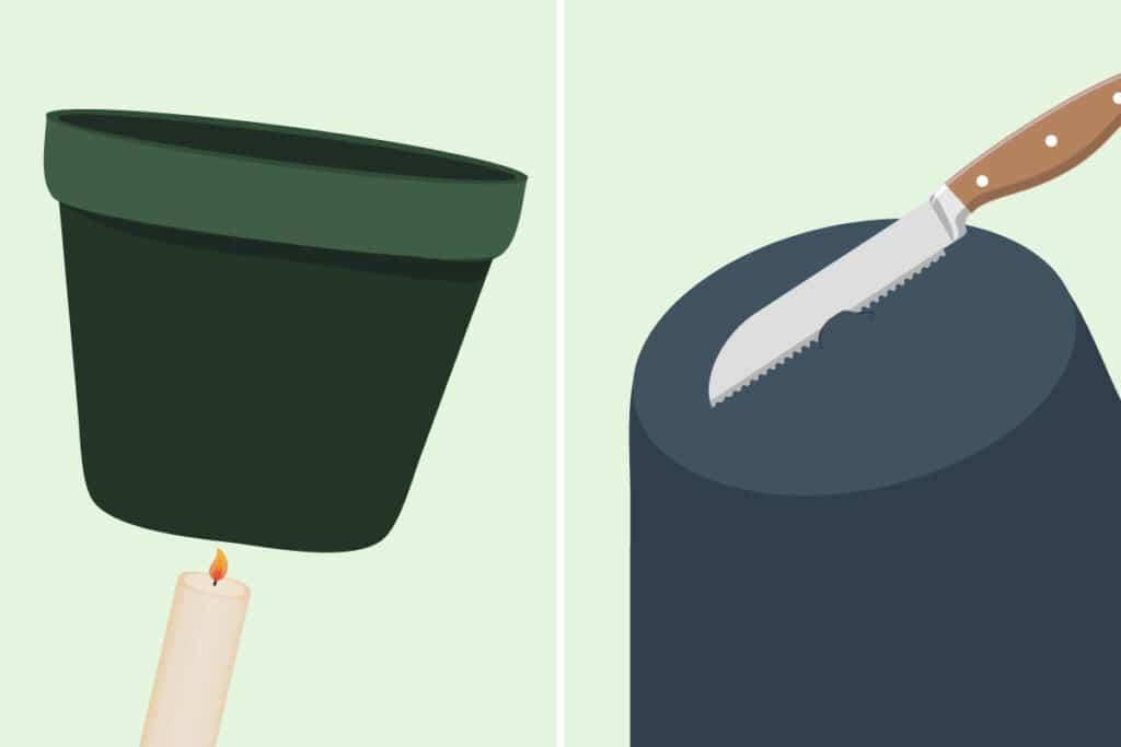 Löcher in Plastikblumentopf machen - Kerze und Messer