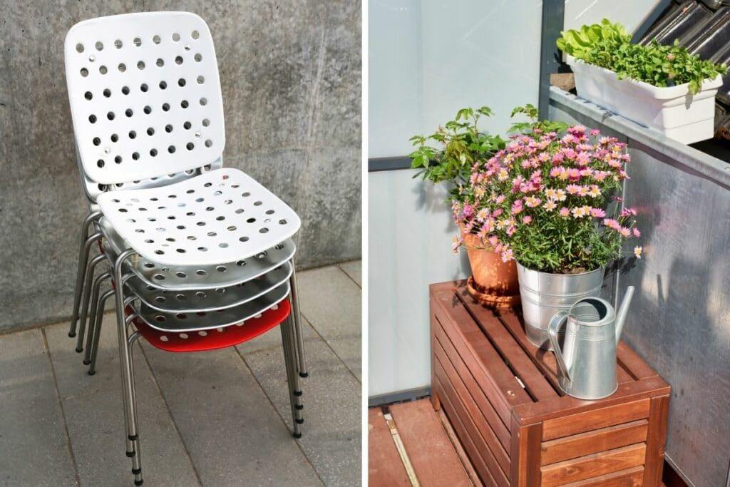Gestapelte Stühle und Truhe auf Balkon